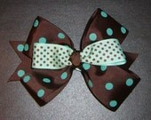 Brown and Teal Polka Dot Hairbow