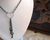 Keys To My Heart - Antiqued Brass Necklace