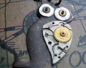 Clockwork Owl - Steampunk Owl Necklace - Vintage Upcycled Watch Parts