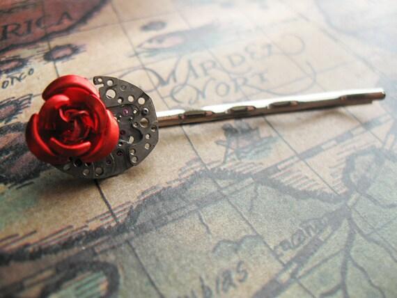 Clockwork Rose - Steampunk Bobby Pin