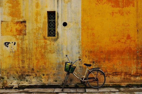 green bicycle, yellow walls - vietnam travel photography fine art  8x10 print with 11x14 mat