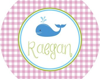 Personalized Melamine Whale Plate or Bowl