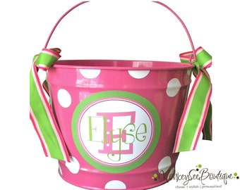 10 Quart Personalized Easter Pail Basket with Added Polka Dots