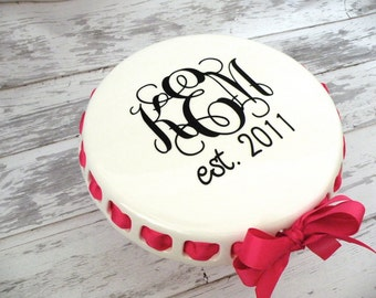 monogrammed ROUND CAKE STAND with decorative ribbon