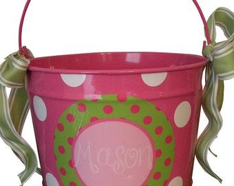 Custom 10 Quart Bucket with Polka Dots