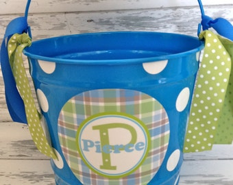 personalized bucket green plaid - 10 quart size