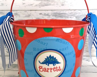 personalized bucket for the dinosaur boy - 10 quart size