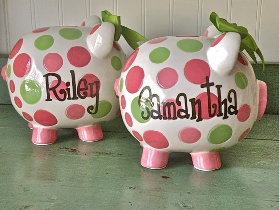 personalized pink and green polka dot piggy bank