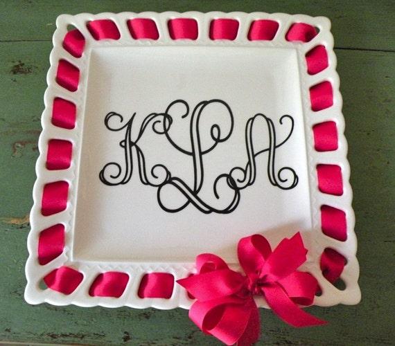 personalized square ribbon plate