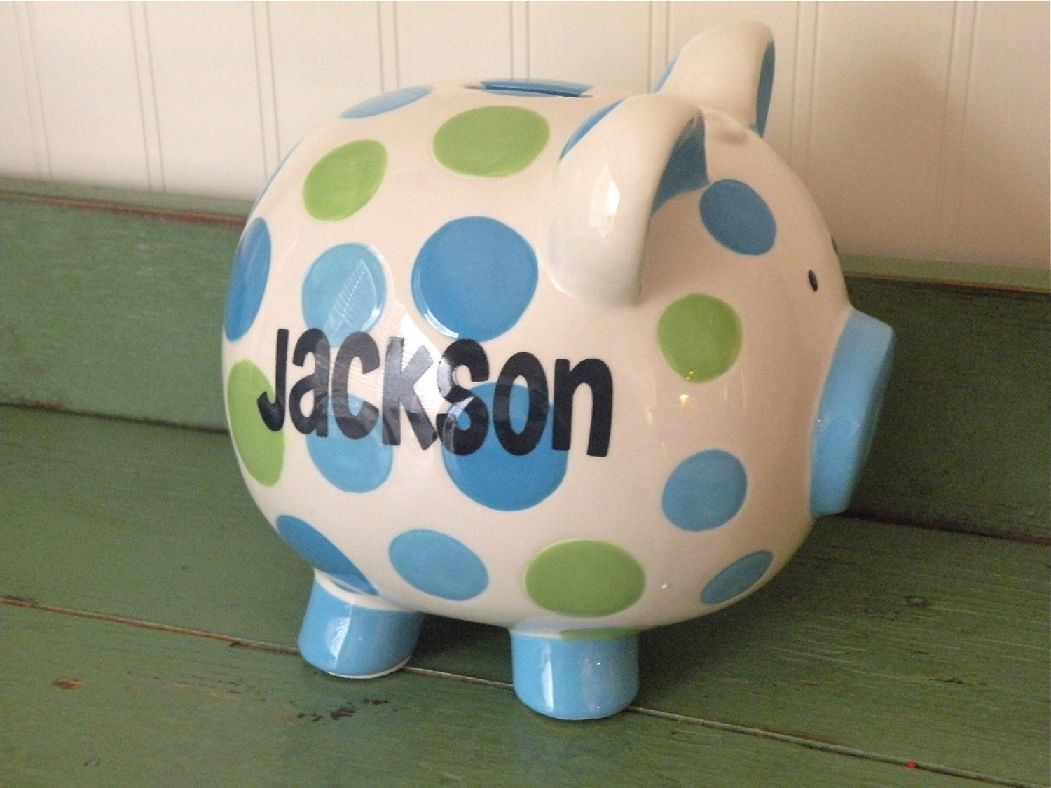 Personalized green and blue boys piggy bank - Coin banks for boys ...