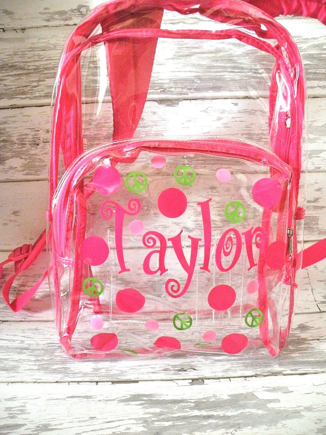 personalized clear backpack with pink trim polka dots and