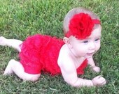Infant Petti Romper in RED W/ Matching Headband and Flower Puff