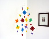 Modern Baby Mobile Hanging Origami Stars -'Constellation' Bold Primary