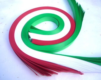 "1"" Weaving Star Paper ~Red, Green, White (100 strips)"
