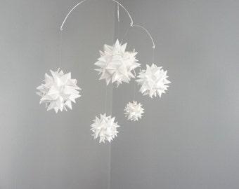 Hanging Origami Sphere Mobile -'Libra' Pearl White