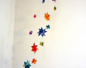 Baby Crib Mobile Origami Paper Stars -'Corona Borealis' Rainbow