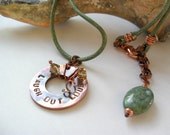 stamped copper pendant necklace