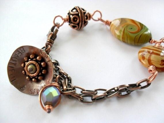 lampwork copper bracelet stamped charm