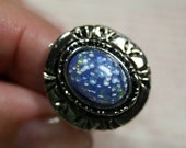 Safe in Your Arms Vintage Blue Cabochon in Silver Adjustable Ring Shipping Included