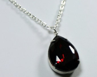 Hollywood Glam Vampire Drop Estate Style Vintage Crystal Necklace Last One