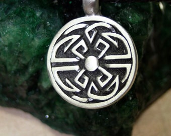 Tribal Celtic Knot Pendant Black Braided Leather Necklace