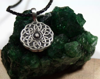 Pewter Celtic Knot on Black Braided Leather Necklace Him or Her