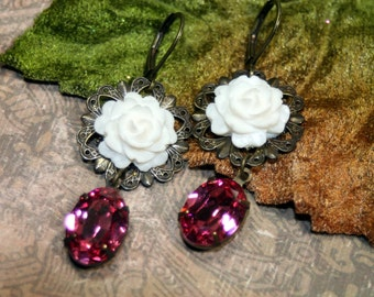 Pink N White Bella Femme Vintage Rhinestone Dangle Earrings Ice White Roses