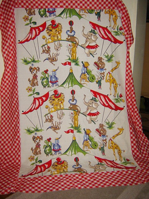 Save 25% Vintage barkcloth textile animal circus quilt top tablecloth  On Sale