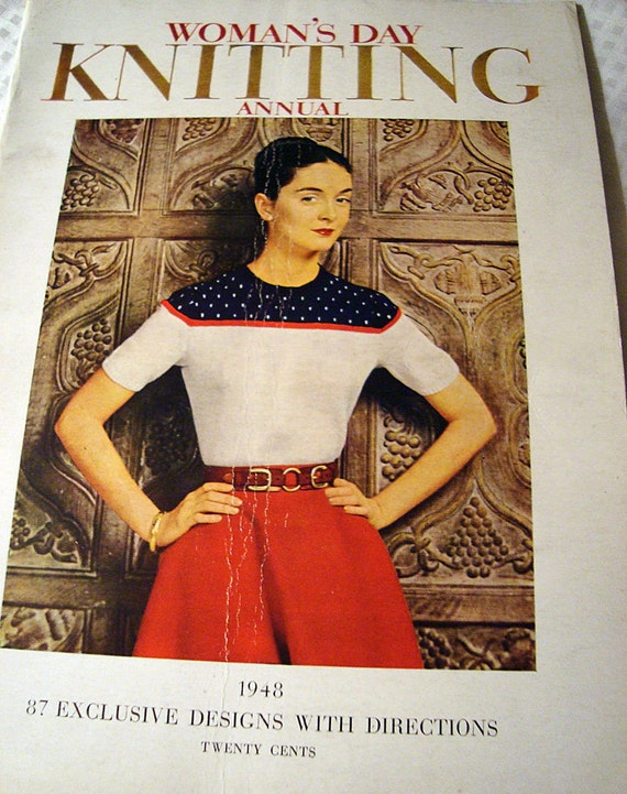 vintage knitting magazine Woman's Day Annual 1948 red white and blue