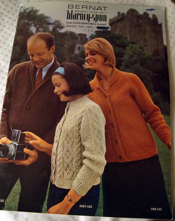 vintage family knitting booklet Brawny Irish Knits Bernat 1964 cable knit sweaters