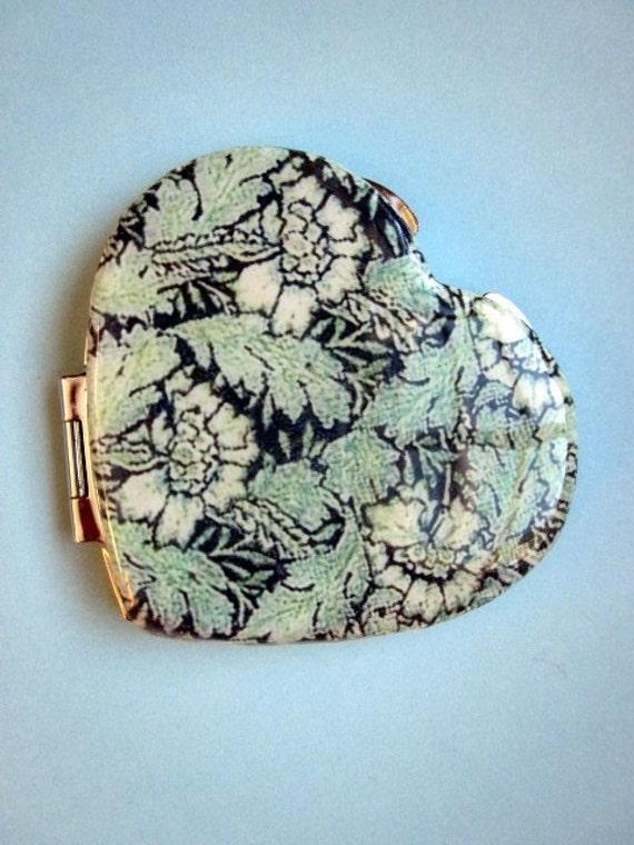 Polymer Clay Image Transfer Heart Shaped Pocket Mirror