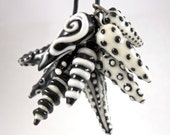 Porcelain Charms- Set of Six Black and White Porcelain Daggers
