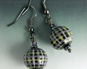 Plaid Dangle Earrings - Handmade Colored Porcelain Plaid Beads