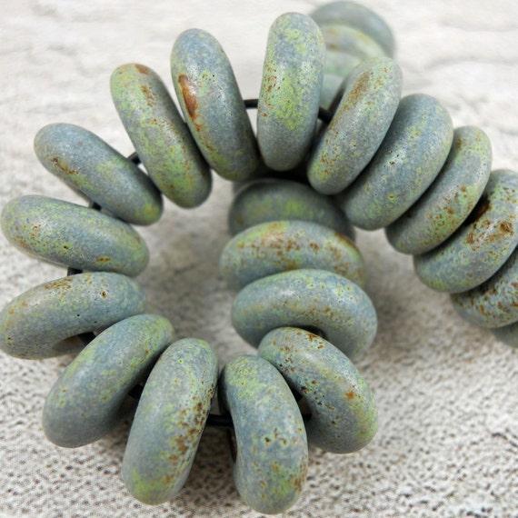 Ceramic Rondelles- Matt Blue Green Grey Handmade Porcelain Beads- Giant Set of 25  Beads