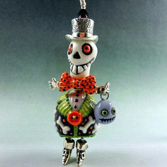 Mr. Bones Dapper Halloween Pendant - Reserved for CherriJunkin