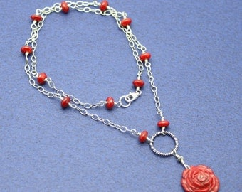 SALE- Red Carved Flower Necklace