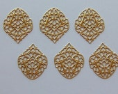 6 pc Large Brass Ornate Crest Filigree Findings