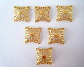 12 pc Brass Domed Square Filigree Findings