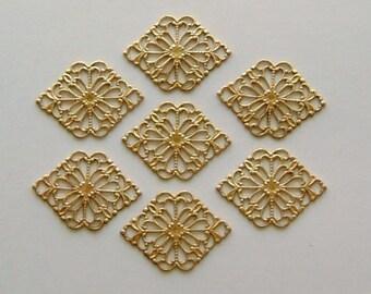 12pc Brass Ornate Diamond Shaped Filigree Findings
