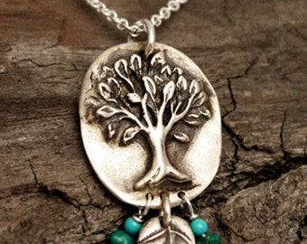 Dancing Leaf Tree of Life with Turquoise Necklace