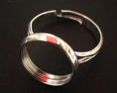 10 12mm bezel ring settings, silver plated