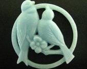 Light blue love bird cabochons, vintage style resin pendant charms