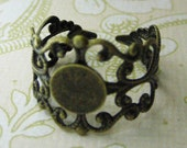 50 8mm brass adjustable filigree rings bases, lead and nickel free