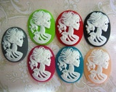 7 30x40mm oval skeleton cameo cabochons,  (one of each color) Lolita Day Of The Dead goddess cabs