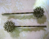 10 round brass filigree bobby pins, scalloped edge, 14x54mm