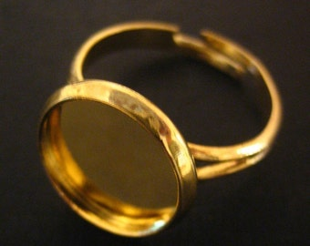 12mm gold plated bezel ring blanks, pick your amount, A85