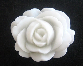 White cabbage rose cabochons 26mm x 22mm