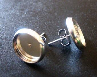 10mm bezel stud earring settings, silver plated, pick your amount