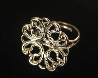 5 20mm filigree ring base, silver plated,  flower pattern style ON SALE