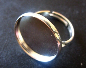 Silver plated 18mm bezel ring base settings, Pick your amount, A98